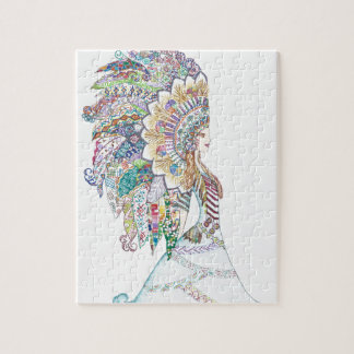 Native American Girl's Headdress Jigsaw Puzzle