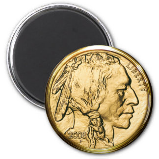 Native American Gold Coin 2 Inch Round Magnet