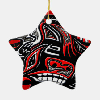 Native American Haida Art Otter Illustration Ceramic Star Ornament
