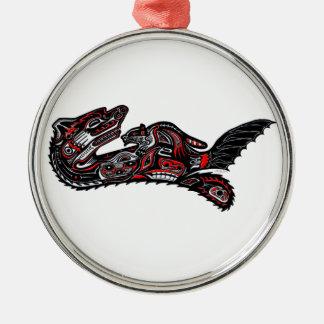 Native American Haida Art Otter Illustration Silver-Colored Round Ornament