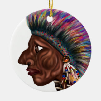 Native American Head Ceramic Ornament