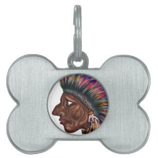 Native American Head Pet ID Tag