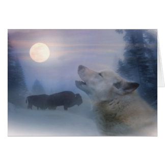 Native American Holiday Cards Wolf and Buffalo