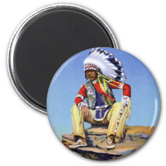 Native American in Costume Poised on Rock Magnet