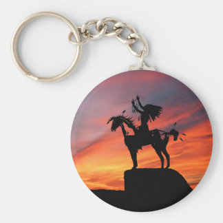 Native American Indian and horse Basic Round Button Keychain