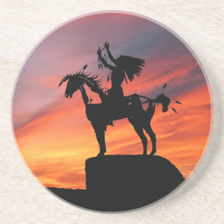 Native American Indian and horse Beverage Coasters