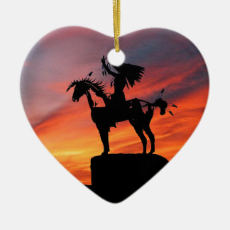 Native American Indian and horse Ceramic Heart Ornament