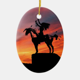 Native American Indian and horse Ceramic Oval Ornament