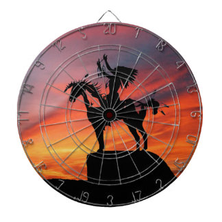 Native American Indian and horse Dartboard With Darts