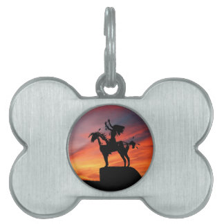 Native American Indian and horse Pet Name Tag