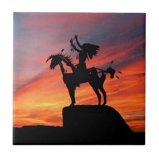 Native American Indian and horse Tile