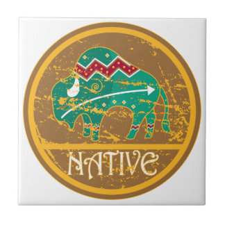 Native American Indian Buffalo Tile