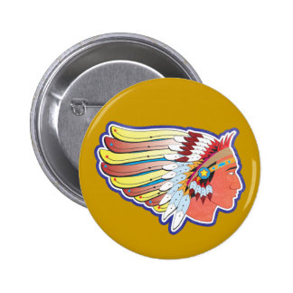 Native American Indian Chief 2 Inch Round Button