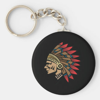 Native American Indian Chief Basic Round Button Keychain