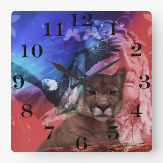 Native American Indian Chief Square Wall Clock