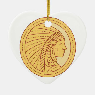 Native American Indian Chief Warrior Mono Line Ceramic Heart Ornament
