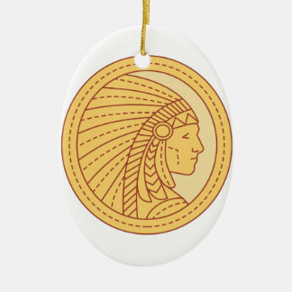 Native American Indian Chief Warrior Mono Line Ceramic Oval Ornament