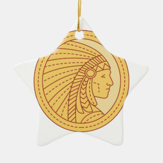 Native American Indian Chief Warrior Mono Line Ceramic Star Ornament