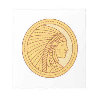 Native American Indian Chief Warrior Mono Line Notepad