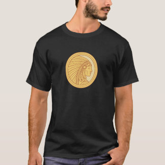 Native American Indian Chief Warrior Mono Line T-Shirt