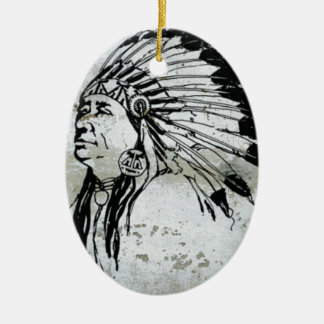 Native American Indian Man Headdress Feathers Ceramic Ornament