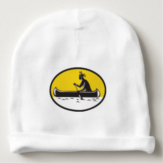Native American Indian Paddling Canoe Woodcut Baby Beanie