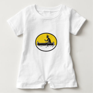 Native American Indian Paddling Canoe Woodcut Baby Romper