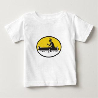 Native American Indian Paddling Canoe Woodcut Baby T-Shirt