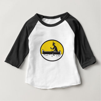 Native American Indian Paddling Canoe Woodcut Baby T-Shirt