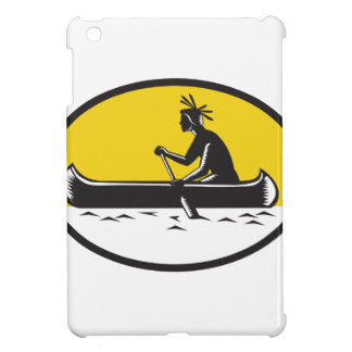 Native American Indian Paddling Canoe Woodcut Case For The iPad Mini