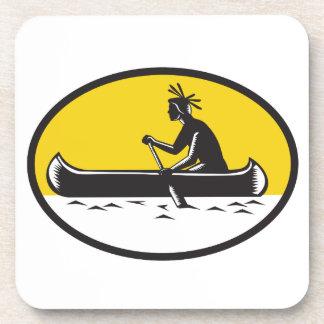 Native American Indian Paddling Canoe Woodcut Coaster