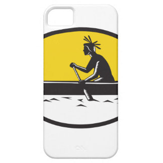 Native American Indian Paddling Canoe Woodcut iPhone 5 Cases