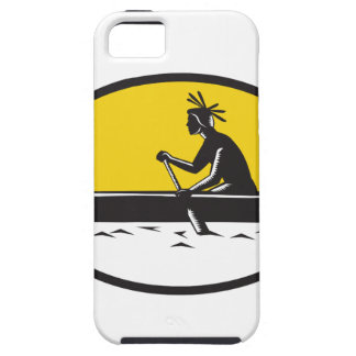 Native American Indian Paddling Canoe Woodcut iPhone 5 Cover