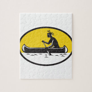 Native American Indian Paddling Canoe Woodcut Jigsaw Puzzle