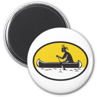 Native American Indian Paddling Canoe Woodcut Magnet