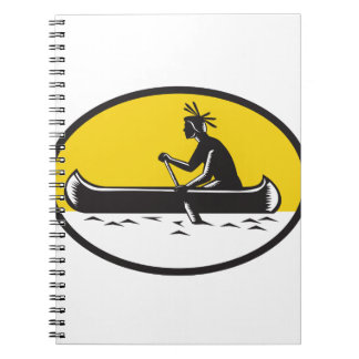 Native American Indian Paddling Canoe Woodcut Notebook
