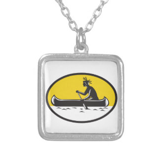 Native American Indian Paddling Canoe Woodcut Silver Plated Necklace