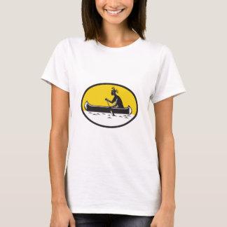Native American Indian Paddling Canoe Woodcut T-Shirt