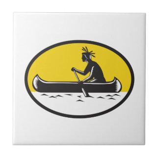 Native American Indian Paddling Canoe Woodcut Tile