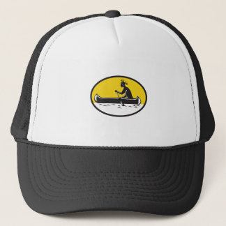 Native American Indian Paddling Canoe Woodcut Trucker Hat