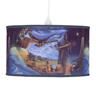 native american  indian print lamp