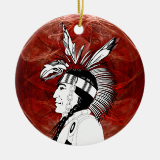 Native American Indian Profile Ceramic Ornament