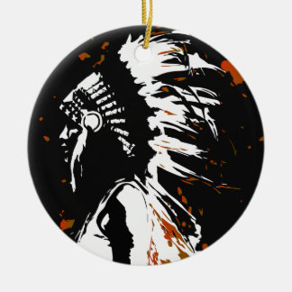 Native American Indian Round Ceramic Ornament