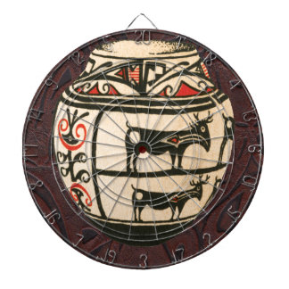 Native American Indian Southwest Antelope Pottery Dartboard