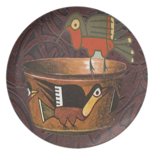 Native American Indian Southwest Bird Pottery Plate