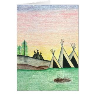 Native American Indian Teepee Folk Art Card