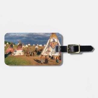 Native American Indian Village Bag Tag