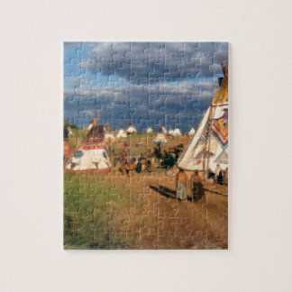 Native American Indian Village Jigsaw Puzzle