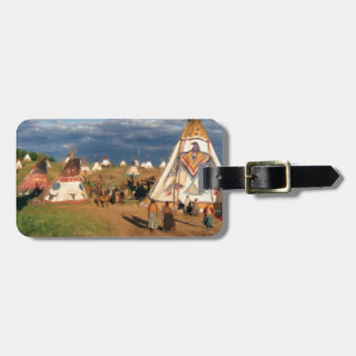 Native American Indian Village Luggage Tag
