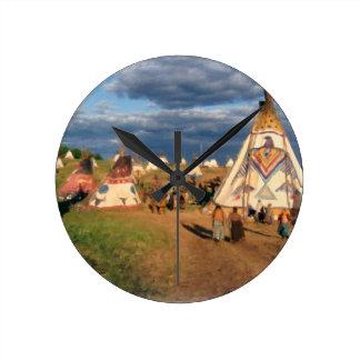 Native American Indian Village Round Clock